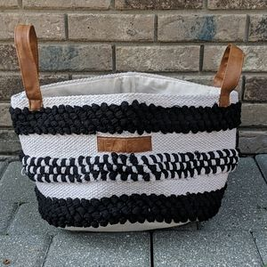 "Mary & Martha Woven ""Faith"" Basket Black & Ivory"